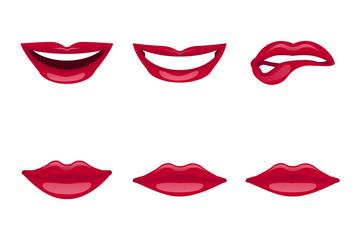 lips set isolated on white background. Vector illustration.