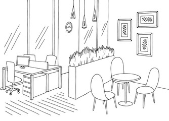 Office room graphic black white interior sketch illustration vector