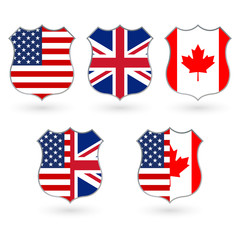 Flag of US, Canada and UK in the shape of a police badge. American, Canadian and British friendship symbol. Vector illustration.
