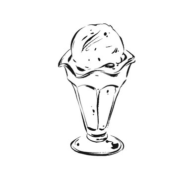 Hand drawn vector abstract artistic cooking ink sketch illustration drawing of ice cream scoop in glass cup isolated on white background.Kids menu concept