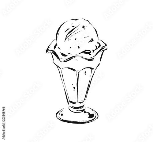 Hand Drawn Vector Abstract Artistic Cooking Ink Sketch Illustration Drawing Of Ice Cream Scoop In Glass Cup Isolated On White BackgroundKids Menu Concept