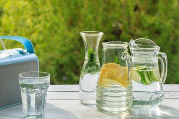 Homemade lemonade and radio on garden in summer time.