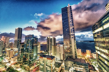 Amazing night lights of Downtown Miami buildings