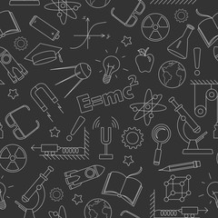 Seamless pattern on the theme of the subject of physics education, simple light contour icons on dark background
