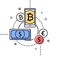 Money exchange - colorful line design style conceptual illustration