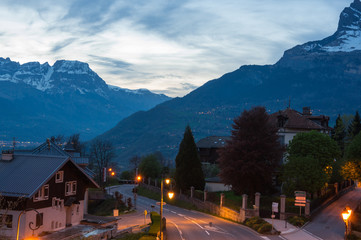 Fototapete - Panoramic view of french Alps and Saint-Gervais-les-Bains