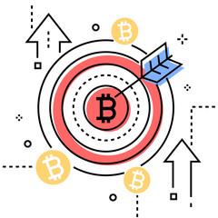 Bitcoin - colorful line design style conceptual illustration