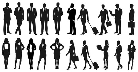 Set of businesspeople silhouettes. Businessmen and businesswomen