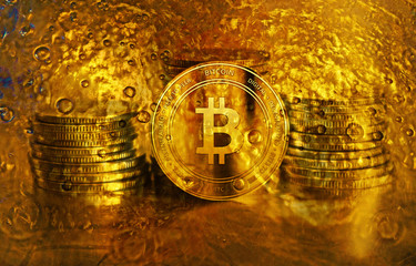 Gold bitcoin closeup. Cryptocurrency. Money and finance.