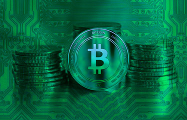 Green bitcoin closeup. Cryptocurrency. Green coin on background. Commerce and finance.