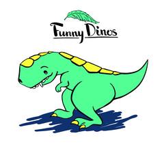 Funny kind children's cartoon dinosaur tyrannosaurus. hand-drawn vector character illustration. lettering logo Funny Dino.