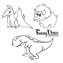 Set of three funny kind children's cartoon dinosaur tyrannosaurus, pterodactyl, triceratops. hand-drawn vector coloring book illustration
