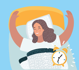 Woman happy waking up on sunny new day