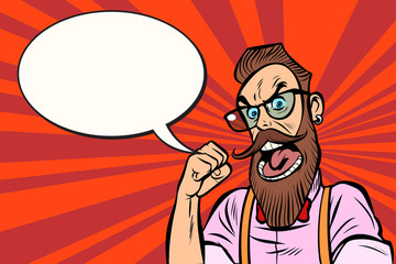 Stylish bearded hipster with glasses rage anger