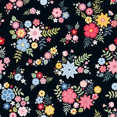 Lovely ditsy floral pattern with cute abstract flowers in vector. Seamless natural background. Print for fabric, gift wrapper.