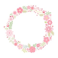 Romantic floral round frame with cute pink flowers. Beautiful wreath isolated on white background. Vector template for greeting cards, wedding invitations, covers.