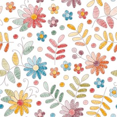 Embroidery seamless pattern with colorful flowers and leaves on white background. Fashion design for fabric, textile, wrapping paper. Fancywork print. Vector illustration.