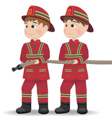 Firemen Vector. Cartoon character equiped. Template illustration