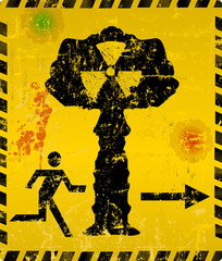 Nuclear explosion escape way sign, vector illustration