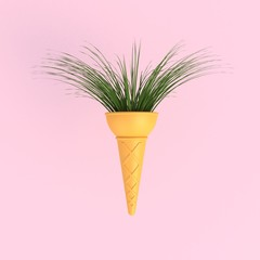 Branch tree in ice cream cone abstract minimal pink background, Nature concept, 3d rendering