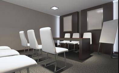 Modern office Cabinet. Meeting room. 3D rendering.. Blank paintings