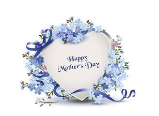 """Herz mit Vergissmeinnicht Blumen zum Muttertag, Grußkarte in englisch mit """"Happy Mother`s Day"""", Vektor Illustration isoliert auf weißem Hintergrund"""