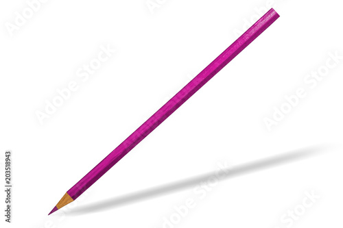 pink wooden sharpened pencil on white background isolated stock