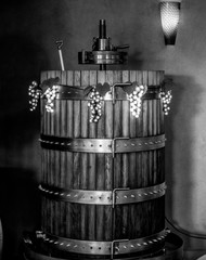 Decorated Barrel with Light Up Grape Decorations