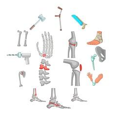 Orthopedic and spine icons set. Cartoon illustration of 16 orthopedic and spine vector icons for web