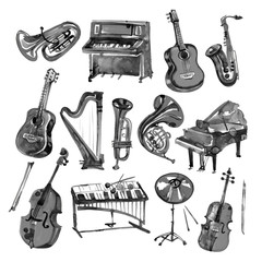 Set of hand draw black watercolor musical instruments