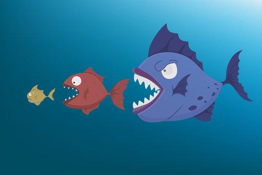 Big fish eat small fish.Vector cartoon illustration fact of natural chain concept.