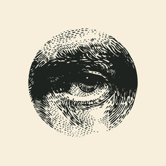 Halftone Male Eye In The Circle. Vector Illustration