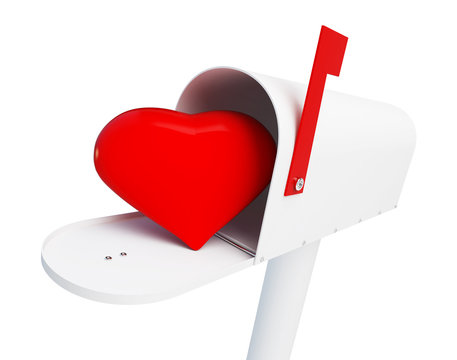 heart in the mailbox Graduation hat question mark on a white background 3D illustration, 3D rendering