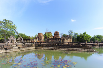 Beautiful Prasat Muang Tam ( lowland castle ) with reflection , Buriram Province , Thailand