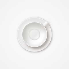 Realistic vector empty tea coffee cup top view. Clean white shiny empty cup icon on white background.
