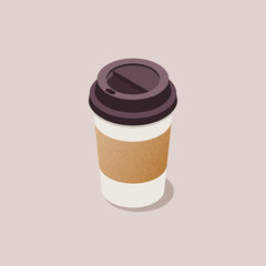 Flat style isometric vector coffee cup concept illustration. Material design disposable paper coffee cup clean realistic icon.