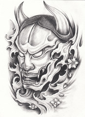 Art Design Kabuki Japanese Tattoo. Hand pencil drawing on paper.