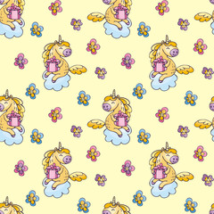 Children's seamless pattern with cute unicorns in doodle style. Colorful vector background.