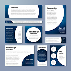 Set of corporate banners. Collection banner design, blue background, vector illustration.
