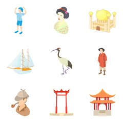 Asian discovery icons set. Cartoon set of 9 asian discovery vector icons for web isolated on white background