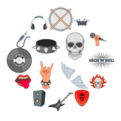 Rock music icons set. Cartoon illustration of 16 rock music vector icons for web