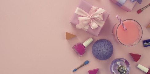 Banner composition of a Set of Women's accessories, cosmetic items gift cocktail.