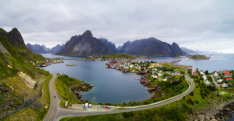 Wall Mural - Mount Olstind and Reine fishing village on Lofoten islands