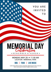 Memorial Day poster templates Vector illustration, USA flag waving with text. Flyer design