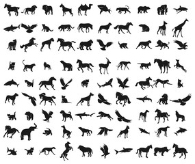 Large set of silhouettes of different animals and birds