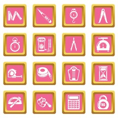 Measure precision icons set vector pink square isolated on white background
