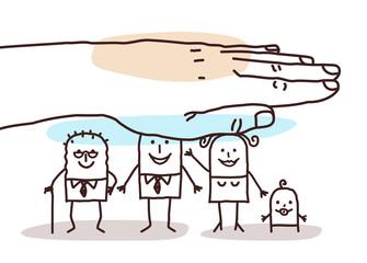 Protecting Big Hand - Cartoon Family