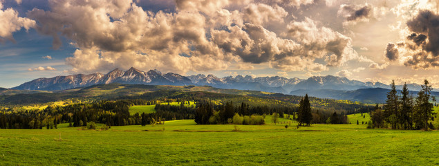 Panorama of high tatra mountains in Poland Wall mural