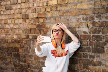 young beauty american girl make selfie, fashion model, pretty girl