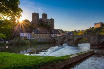 Burg Runkel zu Sonnenuntergang